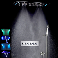 Concealed Rain Shower Set Thermostatic High Flow Multifunction LED Shower Faucets Mist Spray Waterfall Massage Bathroom