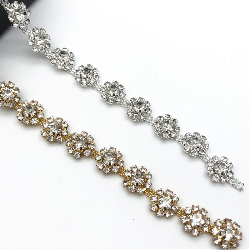 5 Yards lot Silver Gold Flower Crystal Trim Rhinestone Chain for DIY Clothes Accessory Dress Belts
