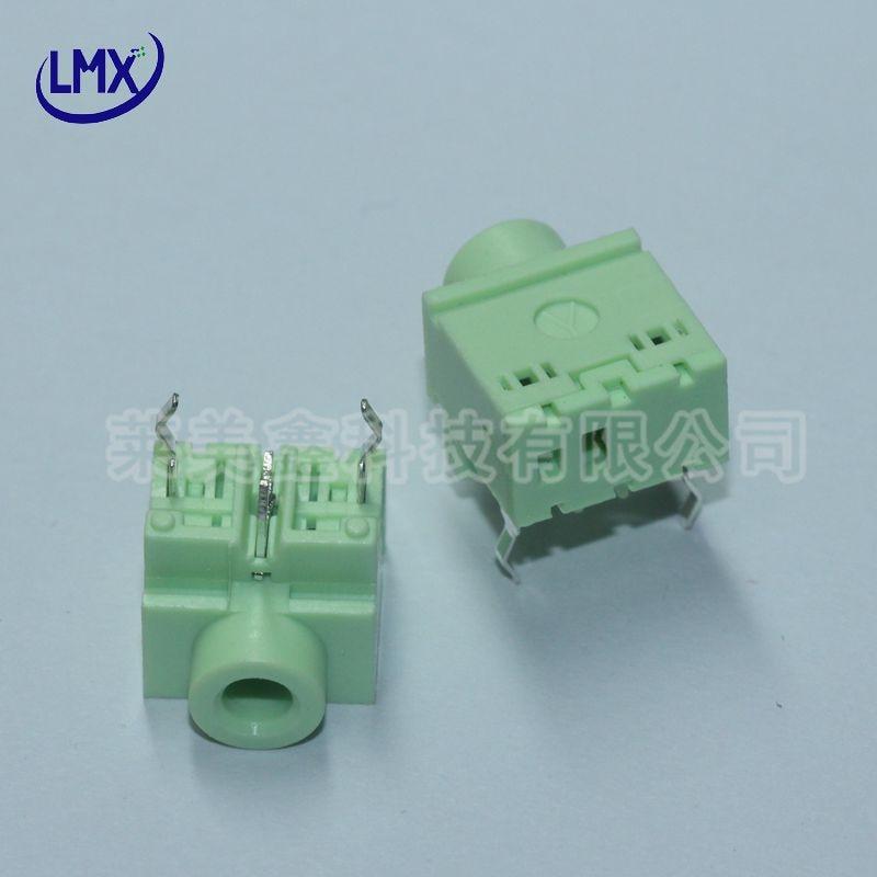30pcs/lot PJ-317-3P 3.5mm audio jack headphone jack earphone jack socket green