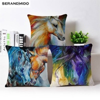 Chinese Style Oil Painting Cushions Horse Pattern Pillow Cases Cotton Linen Cushion Cover Car Sofa Throw Pillows Home Decorative