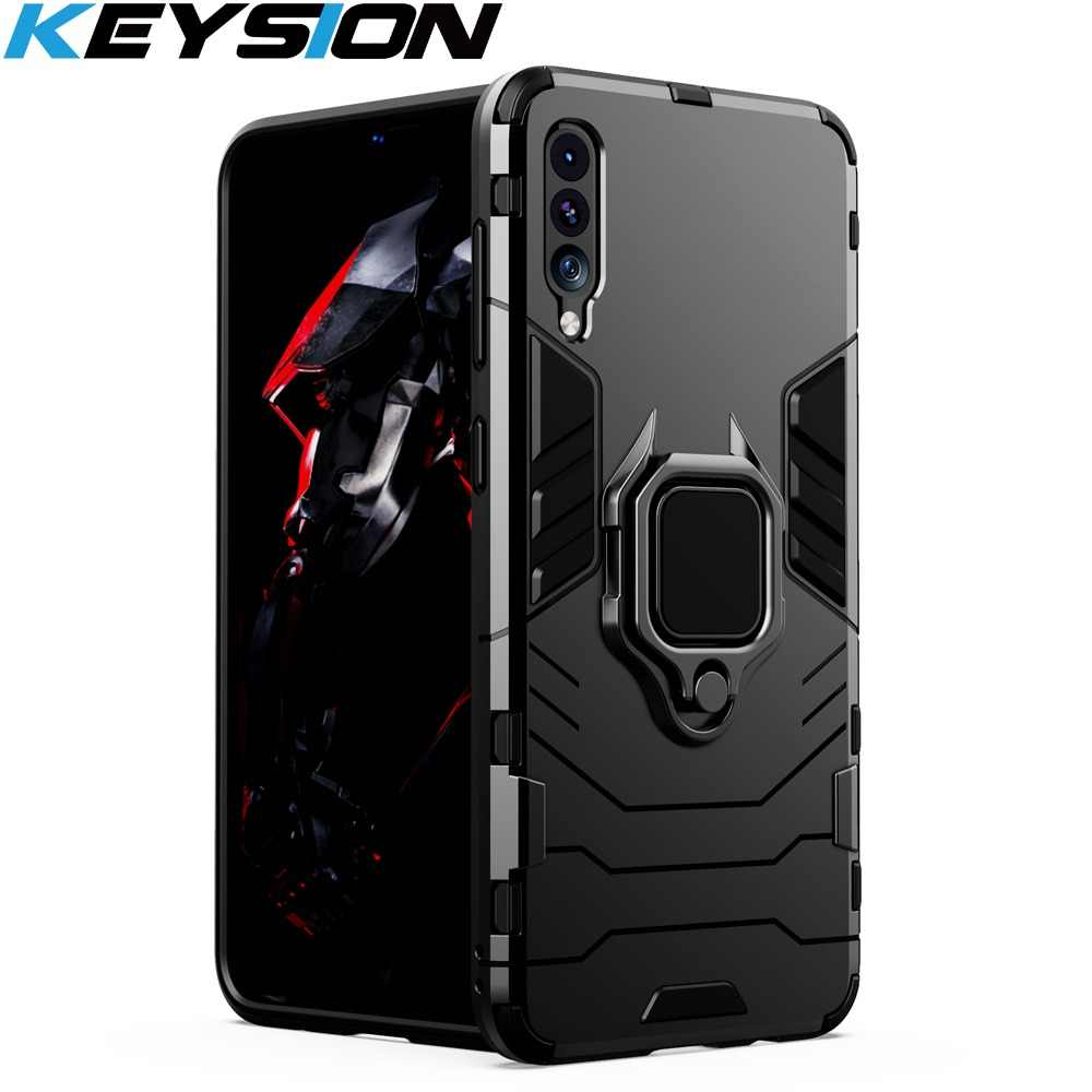 KEYSION Shockproof Armor Case For Samsung Galaxy A50 A30 A20 A10 A70 Stand Holder Car Ring Phone Cover for Samsung A7 2018 M20