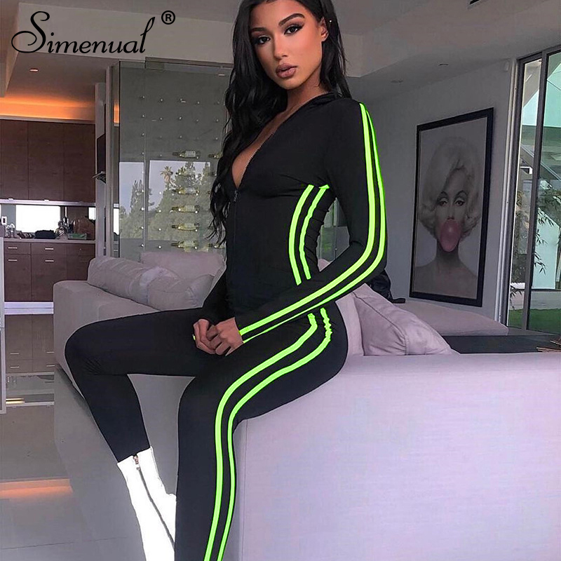 Simenual Neon Striped Fitness Sporty Active Wear Casual Rompers Womens Jumpsuit Zipper Long Sleeve Workout Athleisure Jumpsuits