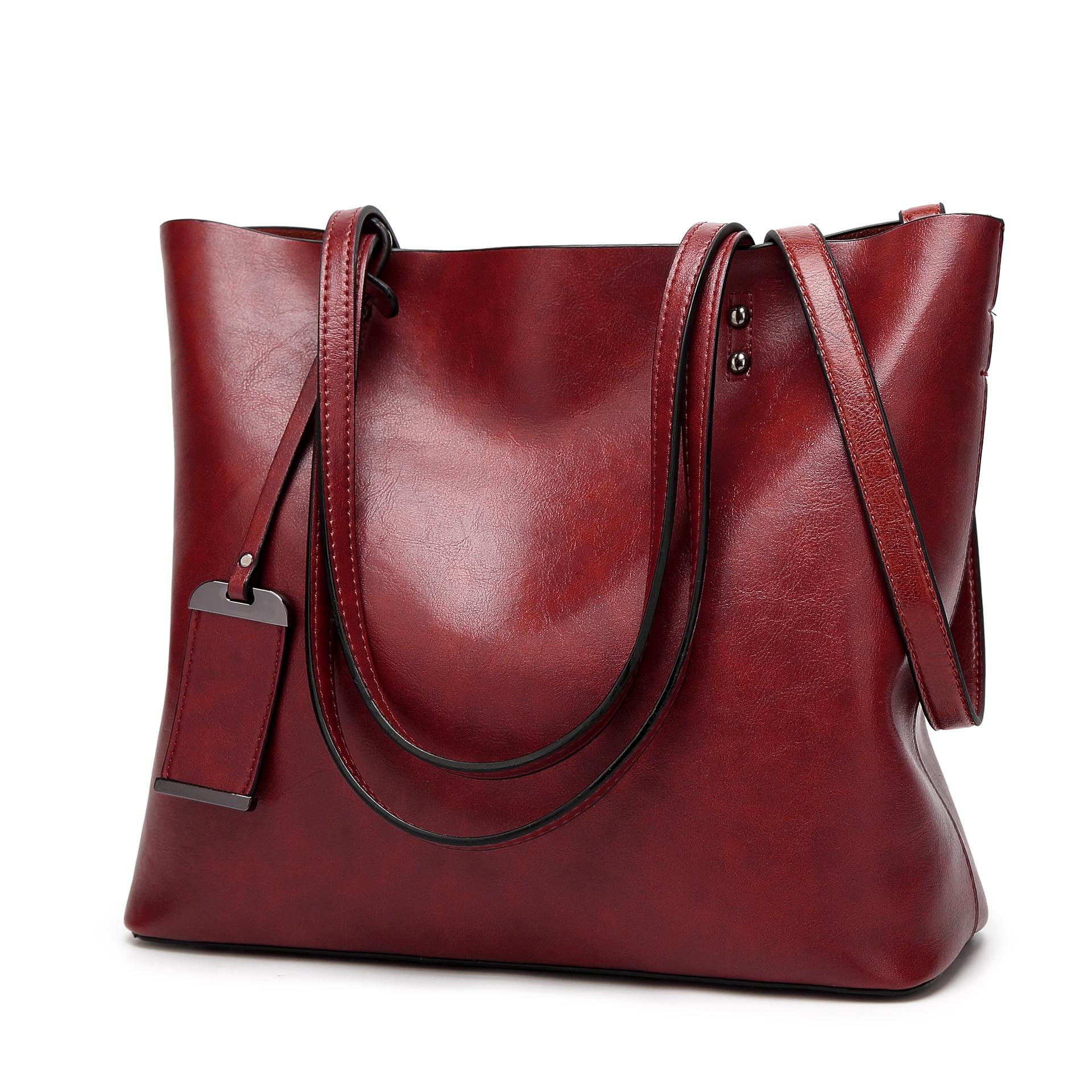 Image 3 - Высокое качество, хит продаж, женские повседневные сумки, масло, воск, кожа, женская сумка на плечо, дизайнерская женская винтажная сумка через плечо, большая C1079-in Сумки с ручками from Багаж и сумки