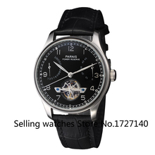 43mm Parnis Power Reserve/Perf Automatic Dial negro hombres Reloj p009