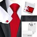 Мужская Красный Галстуки Красный Новинка Галстук Hanky Запонки Подарочной Коробке сумка Устанавливает мужская 100% Популярные Галстуки для Свадьбы Мужчины Партия HN-206