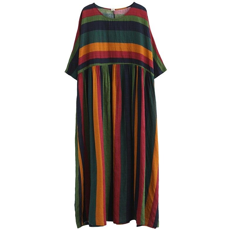 Vestido de verão longo feminino, algodão listras
