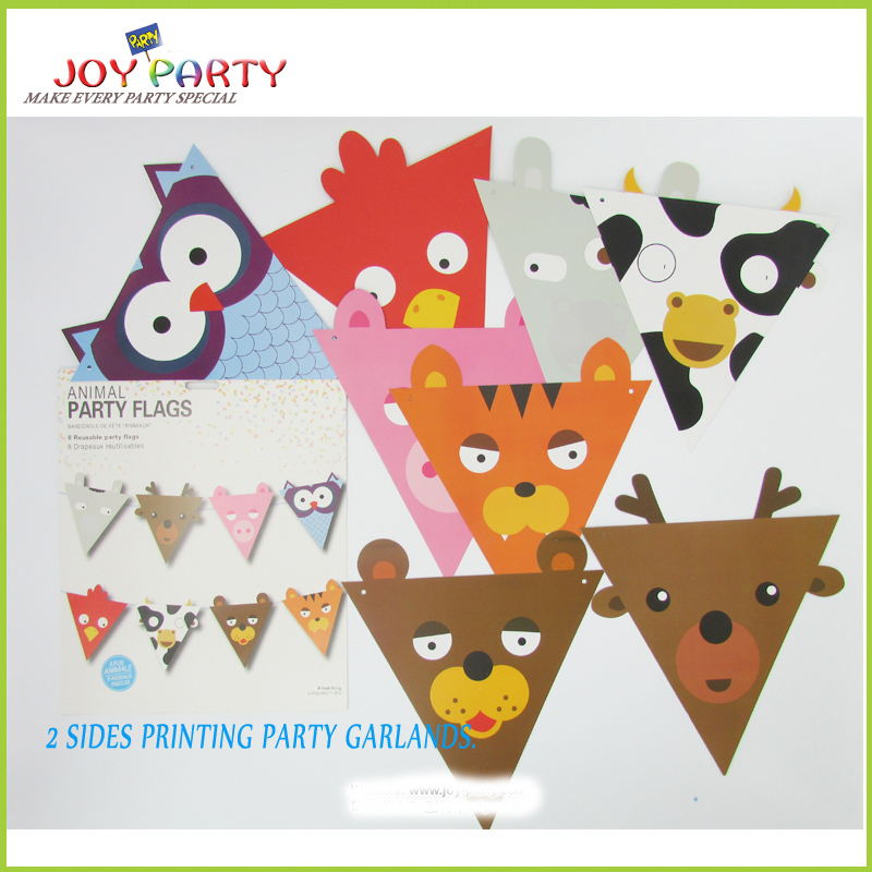 8 unids animal de dibujos animados de papel bandera bandera de la - Para fiestas y celebraciones - foto 3