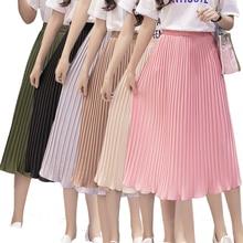 6df7ef9e5db7 Women Pleated Skirt Chiffon Elastic High Waist Tutu Casual Skirt Long  Summer Autumn Maxi Female Elegant Midi Sexy Women s Skirts