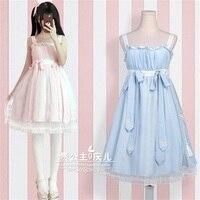 Chinese Style Mori Girl Sweet Lolita Harajuku Vintage Lace Trim Bow Suspender Dress Soft Sister Nightdress Fairy Kawaii Dress