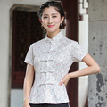 Senhoras do vintage Rendas de Algodão Camisa de Manga Curta Gola Mandarim das Mulheres Chinesas Botão blusa Vintage Tops S M L XL XXL XXXL 2520