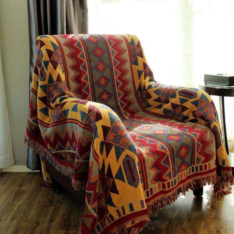 보헤미안 코튼 실 담요 소파 커버 두꺼운 담요 피아노 커버 침대 커버 카펫 자카드 커버 렛 3 사이즈 침대 커버-에서담요부터 홈 & 가든 의  그룹 1