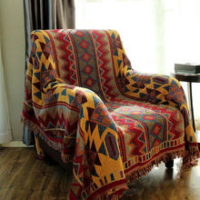 Bohemian Cotton Thread Blanket For Sofa Covers Thick Blankets Piano Cover Bedcover Carpet Jacquard Coverlets 3-Size Bedspread