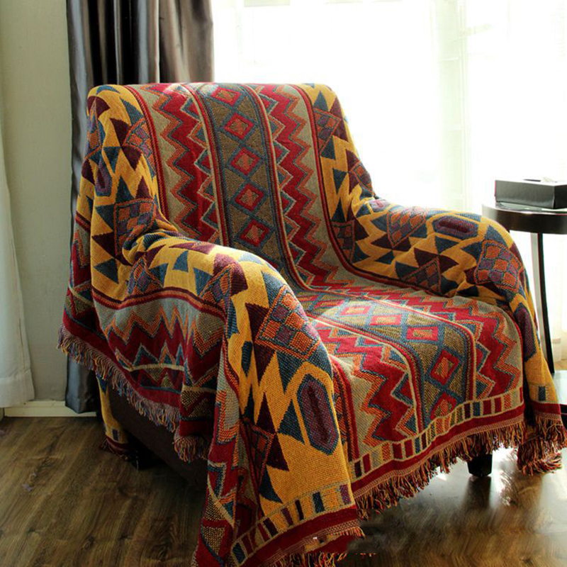 CHAUSUB Bohemian Chunky Cotton Plaid Blanket Home Sofa