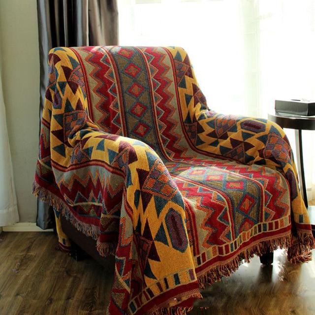 Chausub Bohemian Chunky Cotton Plaid Blanket Home Sofa