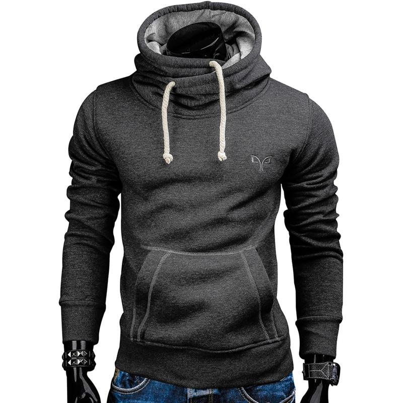Sudaderas hombres 2018 otoño moda marca pullover cuello alto color sólido sudadera deportiva moleton S-XXL
