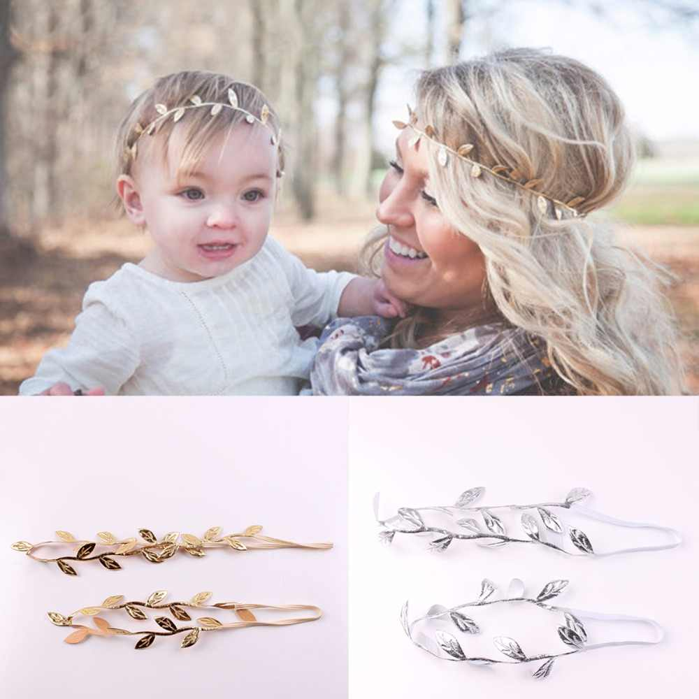 2Pcs/Set Mom Baby Girls Gold Silver Bronzing Leaf Headband Set For Hair accessories Matching Headband Headwrap Gifts