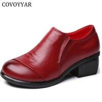 COVOYYAR 2018 Hakiki Deri Kadın Ayakkabı Kalın Med Topuklar Iş elbise Ayakkabı Pompalar Bahar Sonbahar Kırmızı Çizmeler Kadın Boyutu 41 WHH551