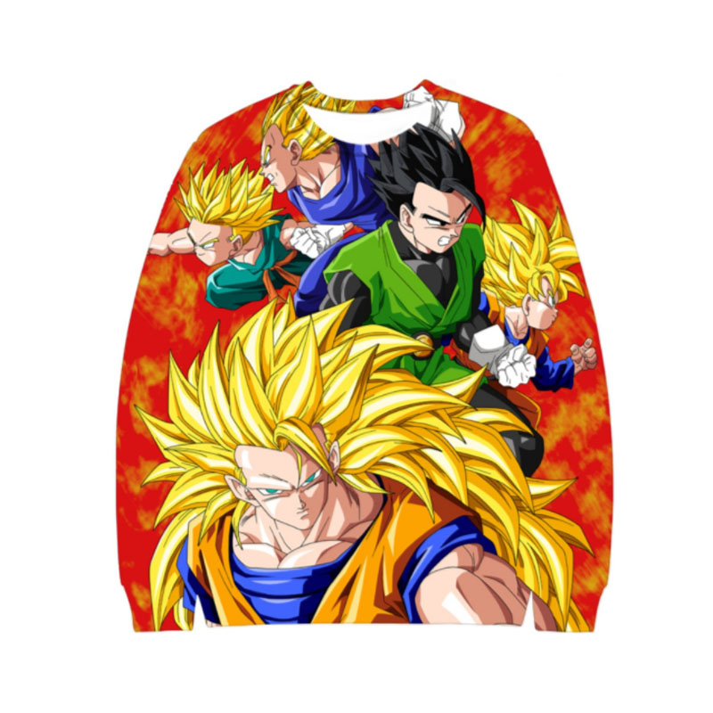 Classic Anime Dragon Ball Z Crewneck Sweatshirt Goku 3D Print Mens Hoodies Sweat Homme Sportswear Hip Hop Male Tracksuit Hoody