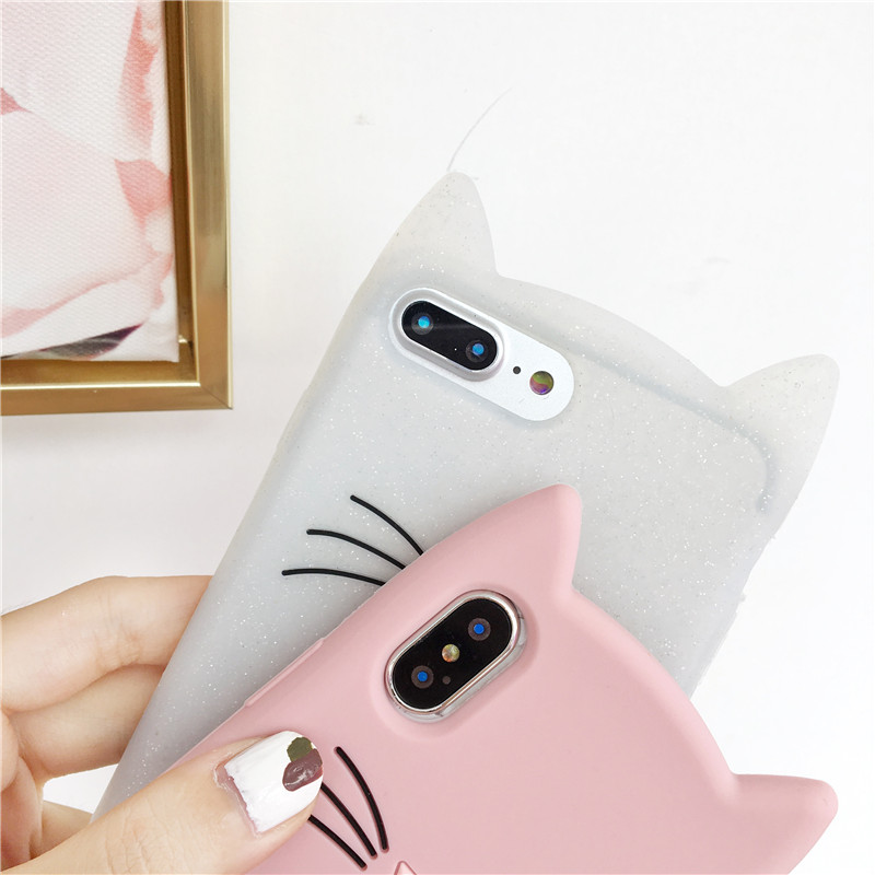 Cute Glitter Bearded Cat Case For Samsung S6 Edge S7 S7 Edge Cartoon Soft Silicon Coque For Samsung S9 S8 Plus S9 Back Cover in Fitted Cases from Cellphones Telecommunications
