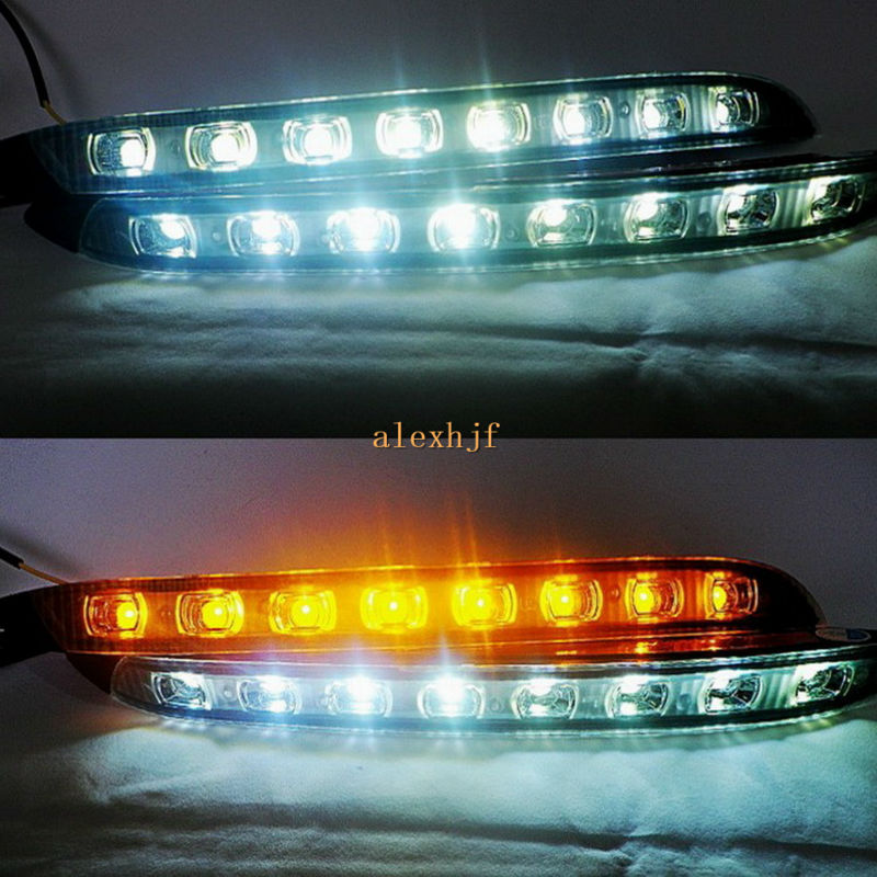 July King LED Daytime Running Lights DRL, LED Fog Lamp With Yellow Turn Signal case for KIA K2 / Rio 2011~ 2014 ijdm amber yellow error free 2835 led 1156 p21w led bulbs for car front or rear turn signal lights daytime running lights