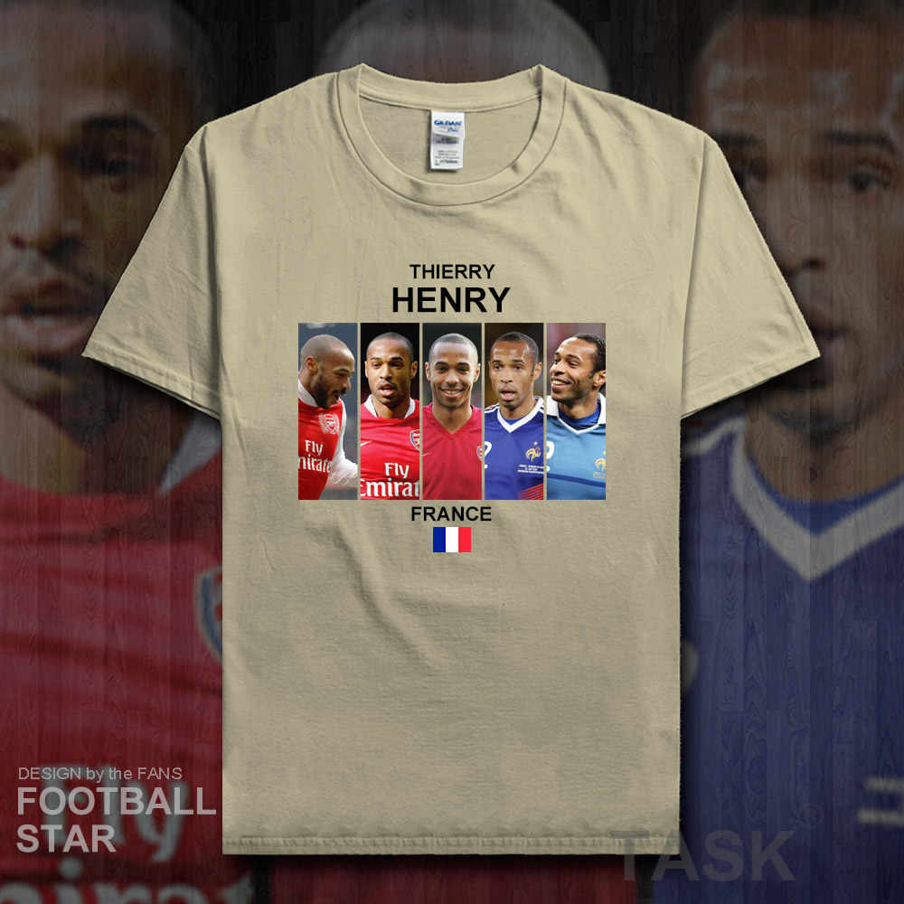 817bcca1376 Thierry Henry t shirt men jersey French footballer star tshirt 100% cotton  fitness t-
