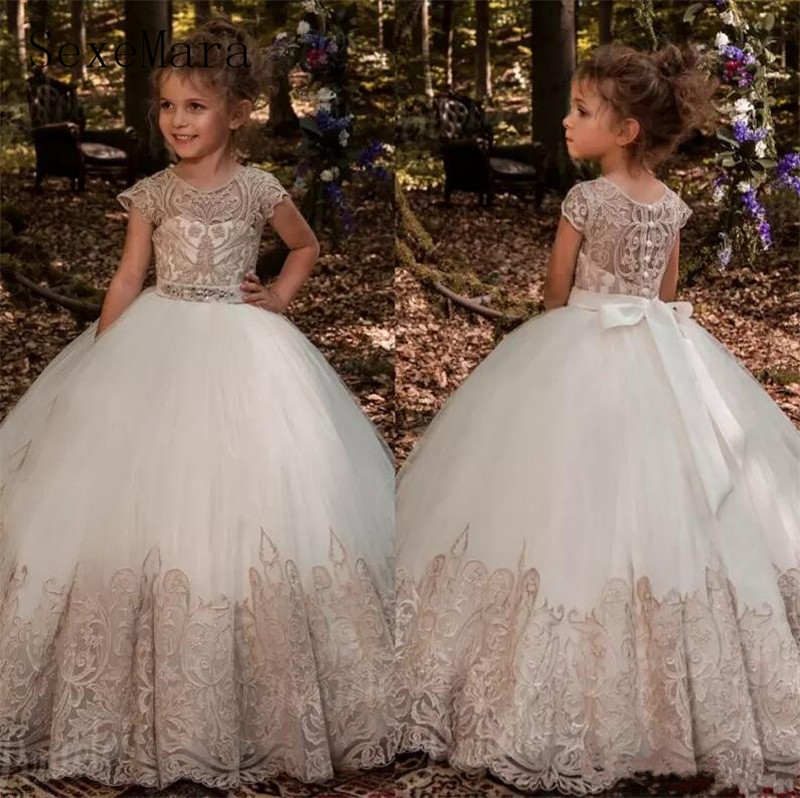 Luxury Champagne Lace Appliqued   Flower     Girl     Dresses   Jewel Neck Floor Length   Girls   First Communion   Dresses   Pageant Birthday Gown