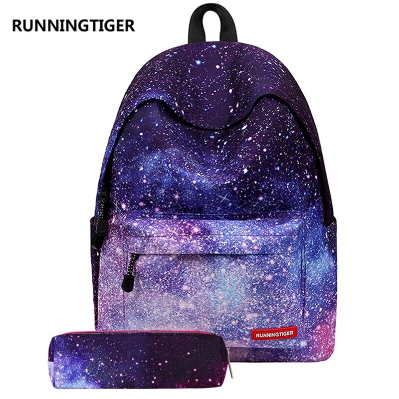 Runnningtiger комплекты школьные сумки для девочек холст школьный рюкзак с пенал звездное небо Школьный Рюкзак Дети Единорог сумка