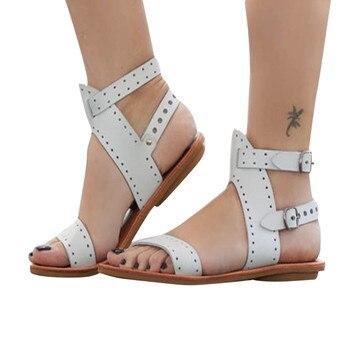 ビーチサンダルファッション女性女性の靴新しい夏の剣闘士ローマの靴フラットひもサンダル靴プラスサイズ 35-43