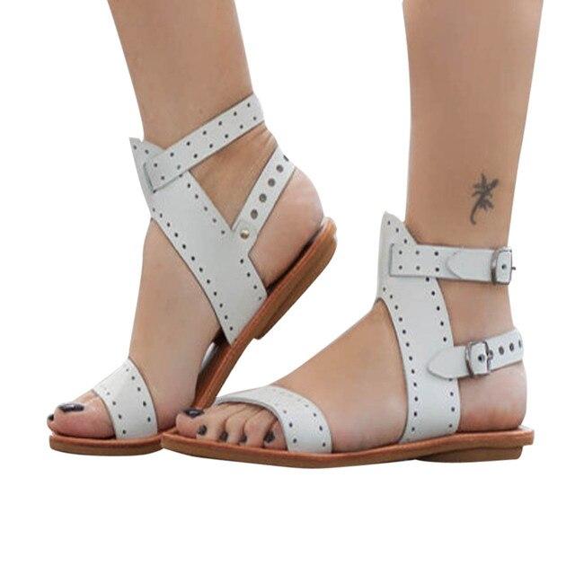 26e7b48f6 Beach Sandals Fashion Ladies Woman Shoes New Summer Gladiator Roman Shoes  Flat Thong Sandals Footwear Plus Size 35-43