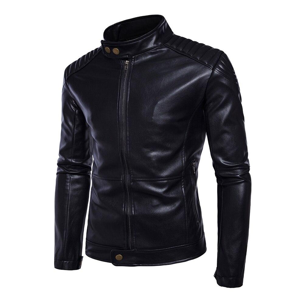 New Retro Classic Motorcycle Jacket Men PU Leather Stand Collar Punk Biker Moto Jacket Slim Coat