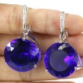 Big Gem 20x20mm Deep Blue Sapphire, CZ Woman's Engagement Created  Silver Earrings 37x20mm