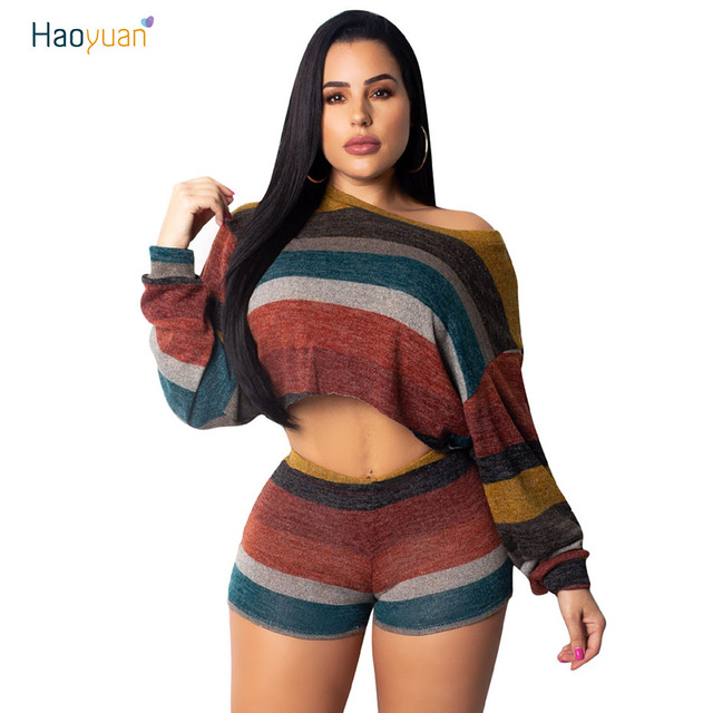 ab3854a33 HAOYUAN Sexy Knitted Two Piece Set Women Clothes Crop Tops+Shorts Suits  Autumn Outfits Casual Stripe Sweater 2 Pcs Matching Sets