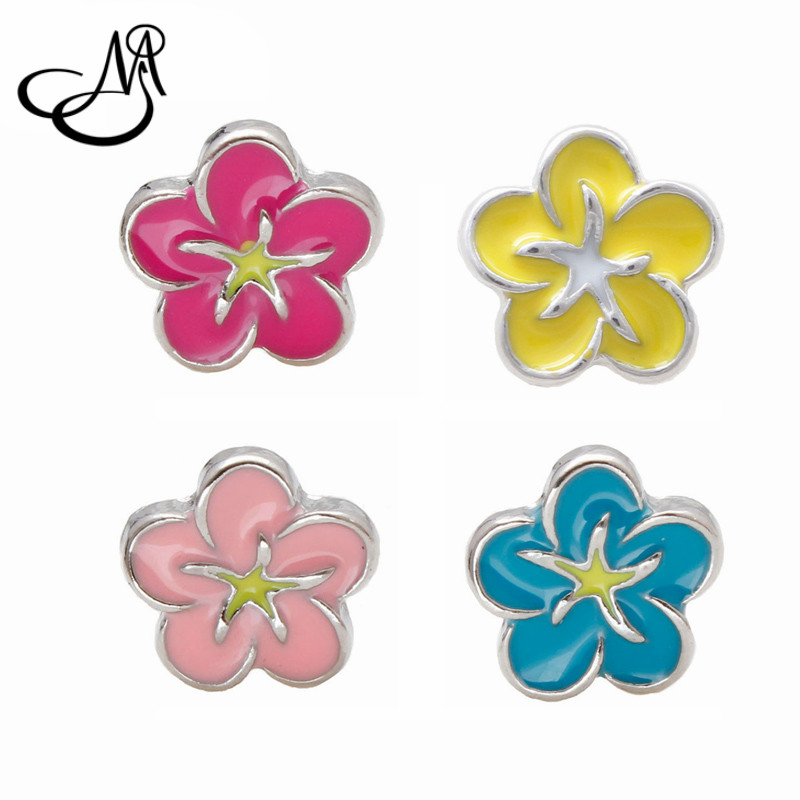 40pcs/lot Zinc Alloy Floating Charms Enamel Colorful Flower Floating Charms For Glass Memory Lockets MFC3089