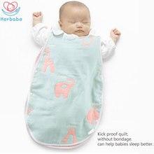 цены Herbabe Spring Summer Baby Sleeping Bag 100% Cotton Muslin Baby SleepSacks Newborn Infant Anti-kick Swaddle Wrap Kids Sleep Gown