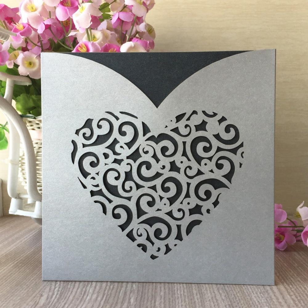 US $24 99 20 Pcs Desain Jantung Pesta Pernikahan Undangan Kartu Ucapan Ulang Tahun Kartu Pos Hadiah Kartu Undangan Laser Memotong Mutiara Kertas