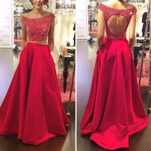 0c25e604e5 Suzhou sexy back open red crystyle beaded 2 piece prom dresses 2016 new  styles size custom make Backless Prom Dress Suzhou Dress