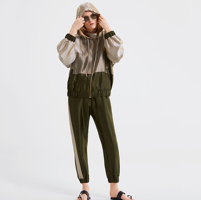 Spring tracksuit women splice hoodies tops long pants two pieces set casual sporting suits 2019