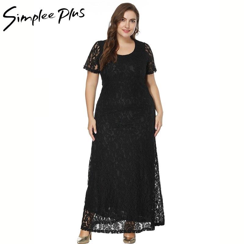 Simplee più scava fuori il vestito di pizzo delle donne più il formato a vita Alta prospettiva backless del vestito 2018 elegante vestidos vestito da estate 4XL