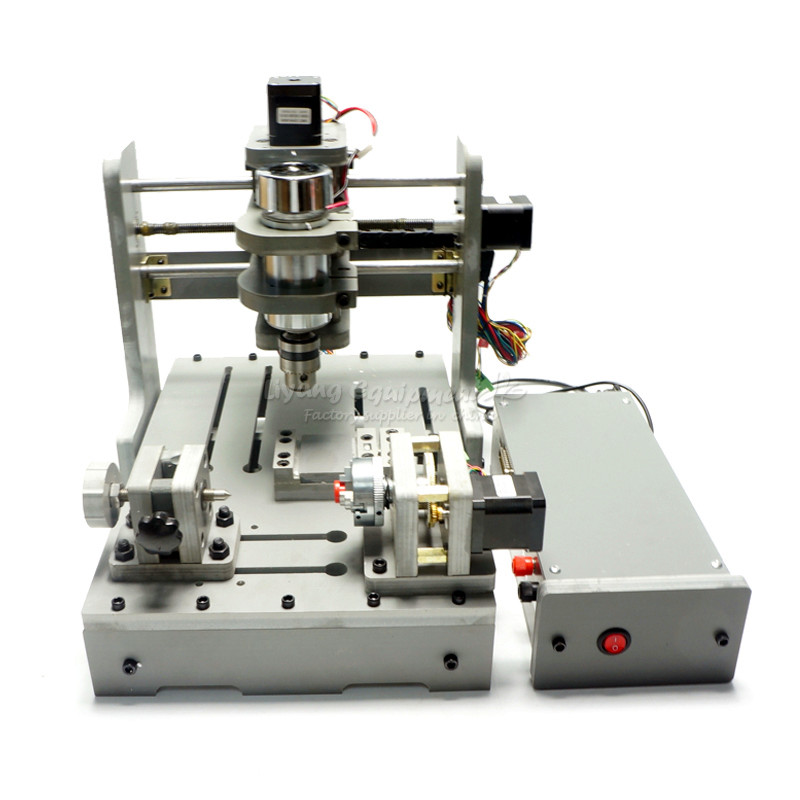 Mini Lathe Woodworking Machine 4 Axis CNC Wood Router CNC 3D Engraving Machine with Rotary Axis 300W Spindle for PCB Milling weihong card woodworking lathe engraving plasma denture machine weihong cnc system integration nk105g2 for 3 axis