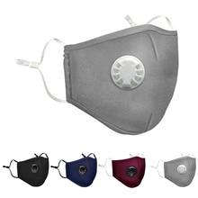 Хлопковая противотуманная маска PM2.5 с клапаном для дыхания, противопылевая маска для рта, респиратор с фильтром из активированного угля, черная маска для рта, лицевая маска