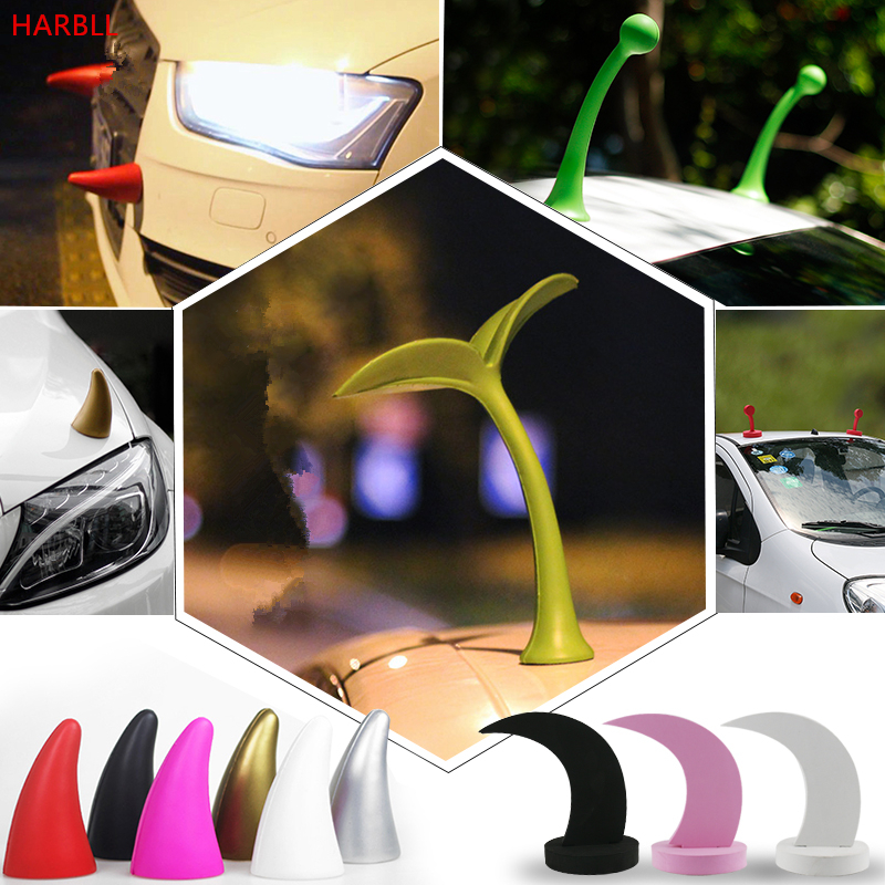 HARBLL 1Pair Car roof decoration 3D personalized seedlings demon angle anti-collision car stickers for auto exterior supplies