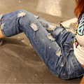 1026 New 2016 Hot Fashion Ladies Cotton Denim Pants Stretch Womens Bleach Ripped loose Jeans Denim Jeans For women's
