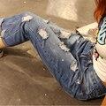 1026 Novo 2016 Hot Moda Feminina Cotton Denim Calças Stretch Mulheres Bleach Ripped solto Jeans Denim Jeans Para mulheres