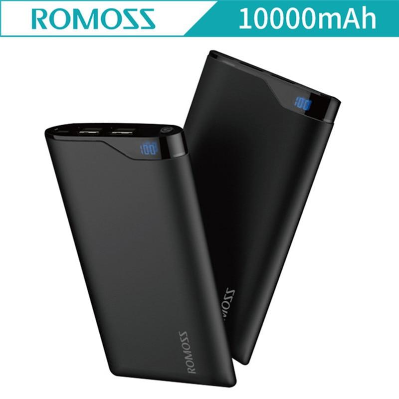 NEW Mobile Power Bank 10000mAh Romoss NE10 LED Screen External Battery Poverbank Dual USB Mobile Power