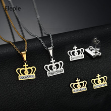 Eleple Titanium Steel Rhinestone Hollow Crown Earring Necklace Set Women Elegant Fashion Party Jewelry Sets Manufacturers S-S064