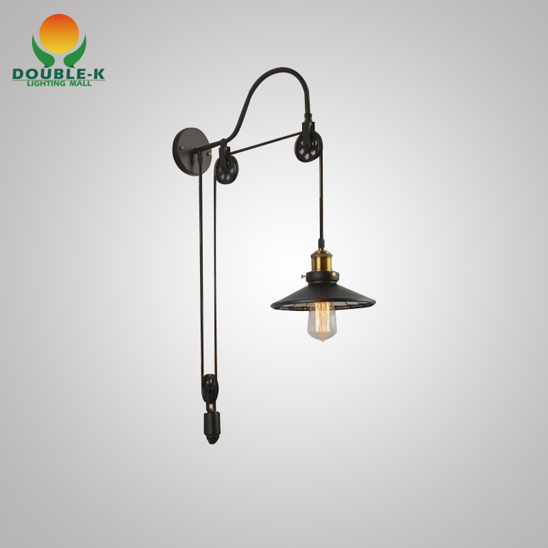 Wall Lamps Retractable : Vintage Wall Lamp Fashion Antique Lighting American Style Lift Retractable Pulley Wall Lamp ...