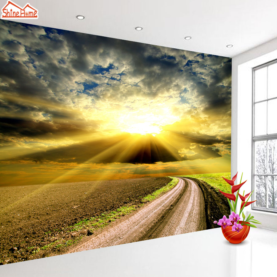 ShineHome-Large Custom Landscape Wallpapers Sunset Skyline 3d Modern Living Room Wall Paper Murals Wahable Wallpaper Desktop shinehome modern custom elephant skyline photo wallpaper 3d stereoscopic decorative wall paper murals boys children kids room
