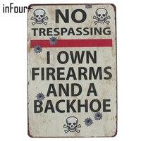 [inFour+] New No Trespassing Metal Signs Home Decor Vintage Tin Signs Pub Vintage Decorative Plates Metal Wall Art Plaques