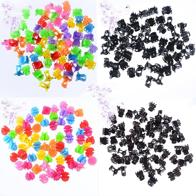 1Pack(50PCS) Colorful Cute Girls Flowers Plastic Hair Claws Wholesale Kids Hair Ornament Clips Hair Accessories