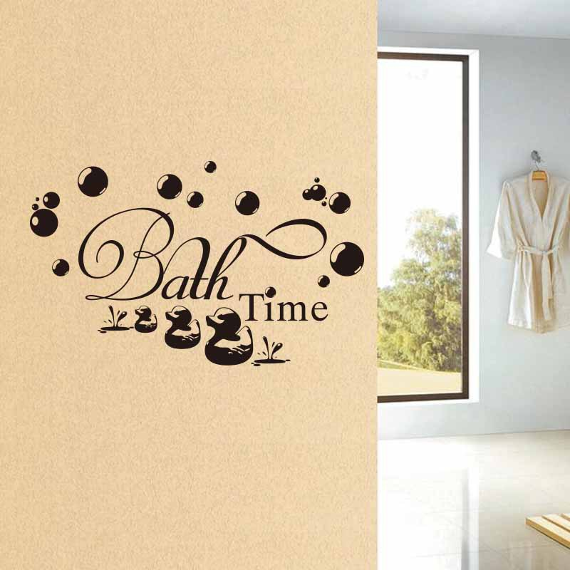 Bath Time Cute Duck Bathroom Wall Sticker For Baby Kids Bathroom Decoration Mural Art Decals Wallpaper Home Decor Stickers Leather Bag